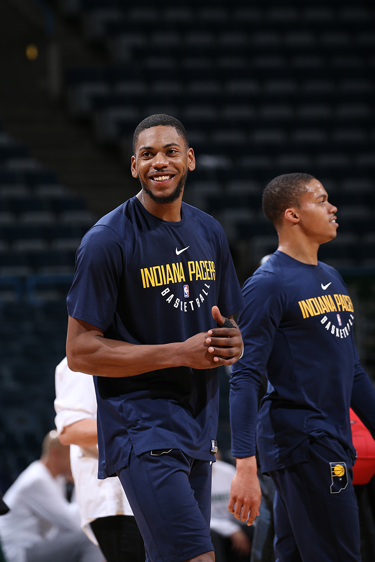 MILWAUKEE, WI - MARCH 2:  Glenn Robinson III #40 of the Indiana Pacers is seen before the game against the Milwaukee Bucks on March 2, 2018 at the BMO Harris Bradley Center in Milwaukee, Wisconsin. NOTE TO USER: User expressly acknowledges and agrees that, by downloading and or using this Photograph, user is consenting to the terms and conditions of the Getty Images License Agreement. Mandatory Copyright Notice: Copyright 2018 NBAE (Photo by Gary Dineen/NBAE via Getty Images)