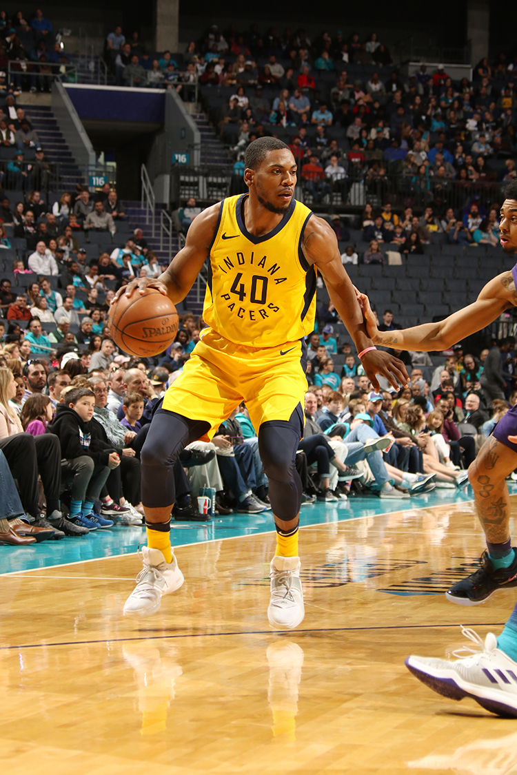 CHARLOTTE, NC - APRIL 8:  Glenn Robinson III #40 of the Indiana Pacers handles the ball against the Charlotte Hornets on April 8, 2018 at Spectrum Center in Charlotte, North Carolina. NOTE TO USER: User expressly acknowledges and agrees that, by downloading and or using this photograph, User is consenting to the terms and conditions of the Getty Images License Agreement.  Mandatory Copyright Notice: Copyright 2018 NBAE (Photo by Brock Williams-Smith/NBAE via Getty Images)